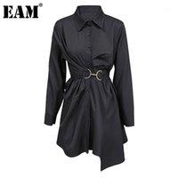 [EAM] Женщины большой размер плиссированные металлические круг блузки Новый отворот с длинным рукавом свободная подходит рубашка мода прилив весна осень 2020 1dd07181