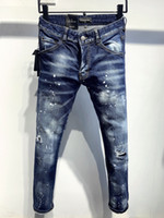 DSQ Phantom Turtle Classic Mode Mann Jeans Hip Hop Rock Moto Herren Casual Design Ripped Jeans Beunruhigte Skinny Denim Biker DSQ Jeans 2034