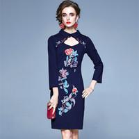 Oco Out Collar de uma peça vestido de festa bordados florais Mulheres Vintage fêmea pulso vestidos de manga outono elegantes