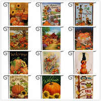 Acción de Gracias decoraciones de jardín de la bandera girasoles Calabazas Fruta del gato del patrón bilateral de impresión Banderas banderas de Halloween más vendido 6 F2 8SX