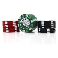 Estilo de microplaqueta de poker de 40 mm 3 partes Moedor de Ervas de alumínio Tabaco Triturador Acessórios para fumar DHL Rápido