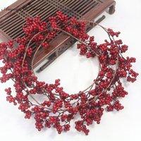 عيد الميلاد اكليل اصطناعية بيري النباتات كرمة الأخضر الأحمر التوت كرمة حديقة diy عيد الميلاد الديكور اكسسوارات المنزل صور الدعائم 1