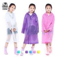 Raincoats FGHGF EVA 투명 패션 아동 여학생 소녀와 소년 비옷 야외 하이킹 여행 비 기어 코트 어린이 1