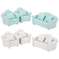 3pcs 1: 12 Mini Doll House Cloth Sofa Plaid Sofa Cushion Set ...