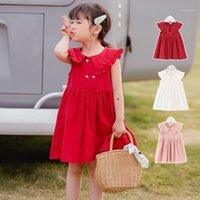 Платья девочки Kisbini 2021 летние малыш девочек платья хлопок твердое без рукавов для ребенка красный розовый белый 18 м до 5T1