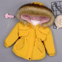 سترات الأطفال للبنات الدنيم الفراء الدافئة للأطفال الشتاء طفلة القطن الملابس الطفل سميكة مبطن طفل معطف C1108
