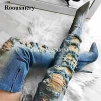 2020 Novo Design Mulheres Moda Pointed Toe Cut-out Denim Gladiator Botas slim Buracos longo botas altas calcanhar