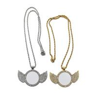 Collana in sublimazione Sublimazione Blanks Decad Diamond Collane Angel Wings Transfer Transfer Pendant Metal Personalizza Regalo Dye Regalo di San Valentino A02