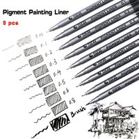 9pcs / lot Copic STA Brush Brush Brushers 9 Taglie per Pigment Liner Fineliner Pens Art School Supplies 201222