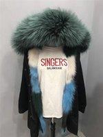 London green raccoon fur trim hoody mukla furs brand dark green blue white Ice cream Splicing fox fur liner black canvas long women parkas