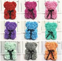 Gül Teddy Bear Yeni Sevgililer Günü Hediyesi 25 cm Çiçek Ayı Yapay Dekorasyon Noel Hediyesi Kadınlar Için Sevgililer Hediye Deniz Yolu EEF3817