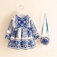 Платье с длинным рукавом Девушка Рождество платье 2018 осень зима цветочный принт малыш девочка платья детская одежда детей с сумкой