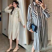 6118 # Rayas verticales Maternidad Blusas largas Vestido Otoño Manga larga Ropa suelta recta para mujeres embarazadas Vestido de embarazo1
