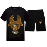 여름 캐주얼 라인 석사 tracksuit 남자 2 조각 디자인 - Crewneck 짧은 소매 티셔츠 및 반바지 바지 세트, 블랙