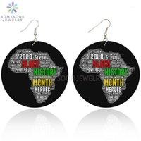 Люстра свисают сомезуенная африканская карта деревянные серьги с каплями мощные знаменательные черные истории Heros дизайн афро древесины украшения для женщин