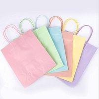 Kraft Kağıt Torba Taşınabilir Şeker Renk Hediye Çantası Kolları Mağaza Paketleme Çanta Alışveriş Torbaları Hediye Paketi DDC4820