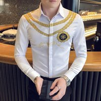 Erkek Elbise Gömlek Kulübü Çalışma erkek Resmi Giyim Gömlek Retro Smokin Toplum Lüks Altın Baskı Casual İnce Uzun Kollu Erkekler1