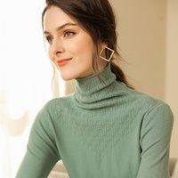 Высококачественный свитер Женщины Turtleneck Пуловер Женщины Зимний кашемиер свитер до и после пшеницы Spike Solid Knit Swire 201017