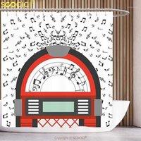 البوليستر دش الستار Jukebox الكرتون حزب الموسيقى العتيقة القديمة خمر مربع الرجعية مع الملاحظات الفني الأحمر أسود رمادي و أبيض 1