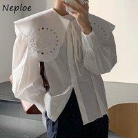 レディースブラウスシャツネオプローシック刺繍取り外し可能な襟緩いシャツシングルブレストフレアスリーブフェムムブルス秋オールマッチWO