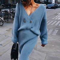 Simplee Seksi v yaka kadın örme etek takım elbise Sonbahar kış Batwing kol 2 adet Şık parti kadın kazak mavi elbise 201.023