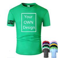 Entrega Logo Personalizado Homens Mulheres Personalizado T Shirt Cópia como Foto ou logotipo Texto DIY Seu próprio projeto 100% algodão verde tshirt