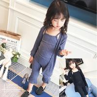 Girls Stripe Set Autunno Bambini a maniche lunghe Cardigan + canotte + Casual Pantaloni a gamba larga 3pcs Bambini Abiti in cotone A4515