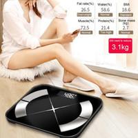Ванная комната Кухонные весы Цифровой смарт-корпус Жир BMI Анализатор Фитнес Калории Вода Вес Электронный Bluetooth