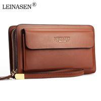 Leinasen Marke Brieftaschen mit Tasche Reißverschluss Doppel Männliche Brieftasche Lange Große Männer Geldbörse Münze Clutch Bag Black Business Q0111