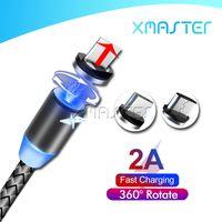 3 in 1 자기 케이블 충전기 라인 2A 나일론 빠른 충전 코드 유형 C 마이크로 USB 케이블 삼성 Note20 Ultra A21 Xmaster