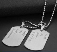 2 pièces / set mode punk mate armée armée en acier inoxydable vierge double chien balise pendentif collier de perles chaîne bijoux pour hommes1