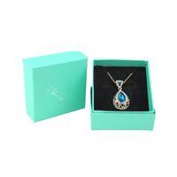 로고 다이아몬드 패턴 보석 상자와 포장 보석 세트 목걸이 쥬얼리 디스플레이를위한 20PCS 라이트 블루 선물 상자