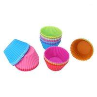 1 juego de 12 piezas (1 docena) Pastel de silicona con forma redonda Moldes para hornear Molde de jalea Molde de silicona Magdalena Muffin Cup1