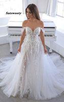 Vestido de Noiva Fuera del hombro Boho Vestidos de novia 2021 Tulle Lace Appliques Beach Nupcial Boda Bata