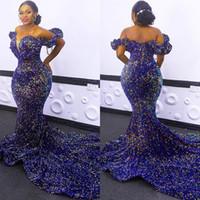 Afrikanische Paillettenabendkleider plus Größe aus Schulter Mermaid Prom Kleider 2020 rote Teppich-Robe de Soiree