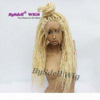 Synthetic Blonde Couleur Dreadlock tressé Dentelle Dentelle Boîte de perruque Tressant Cheveux Sale Dreadlock tresse Drade Dentelle Perruques pour femmes noires
