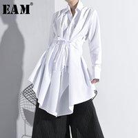 [EAM] Mujeres blanco vendaje asimétrico blusa larga de Nueva solapa de manga larga Loose Fit camisa de marea de la moda de otoño del resorte A536 201028