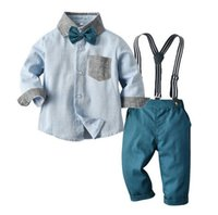 Bambini Designer Abiti Gentleman Boys Camicie Camicie Gilet Pantaloni Ties 2 Pz Set Inghilterra Stile Inghilterra Bambini Abiti per bambini Matrimoni Abbigliamento formale