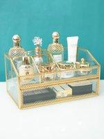 Pirinç Cam Kozmetik Organizatör Kutusu Banyo Depolama Makyaj Parfüm Depolama Oje Ruj Tutucu Çekmece Ekran Raf C0116