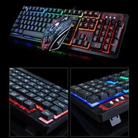 Profissional Ultra-slim Wired Keyboard teclados K13 Gaming Wired and Mouse Combo Set Backlight silencioso para PC portátil