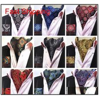 망 Cravat 넥타이 빈티지 폴카 도트 꽃 웨딩 공식적인 Cravat Ascot Scrunch 자기 영국 스타일 신사 폴리 에스터 실크 넥 넥타이 수미