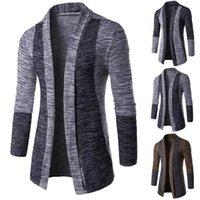 Retro Uomini patchwork a maniche lunghe Slim maglia maglione cardigan Outwear