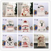 الجملة كبيرة أكياس عيد الميلاد الرباط هدية سانتا كلوز الغزلان أكياس قماش 10 أنماط مهرجان حقيبة