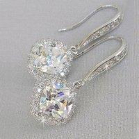 2021 Neue Trendy Frauen Ohrringe Luxus Silber Square Drop Ohrring Hochzeit Brautzubehör Shine Zirkon Stein Elegante Frauen Schmuck Al8334