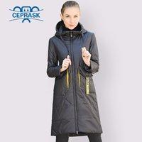 Ceprask Spring Осенняя куртка Женщины Горячие Продажи Тонкий Хлопок Parka Длинные Плюс Размер капюшона Мода Контрастный Цвет Пальто Новые Cothes 210203