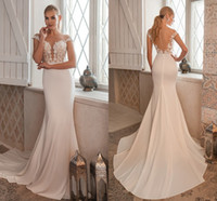 Elegant Mermaid Wedding Dresses 2021 Lace Appliques Cap Sleeves Illusion Buttons Back Boho Bridal Gowns Sweep Train Vestidos De Novia AL8453