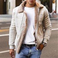 Erkek Ceket Büyük Boy Süet Kompozit Deri Ceket Yaka Fermuar Moda Kentsel Orta Yaşlı Tasarımcı Erkek Giyim