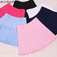 Joinyouth 2020 Verano de Kawaii de la falda de las mujeres ocasionales atractivas mini faldas plisadas de Corea señoras Faldas de talle alto Saia Jupe Femme 7a1114