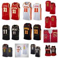 2021 CIUDAD ATIANTA TRAE # 11 Jersey de baloncesto joven de'Andre 12 Hunter cosido 2020 Logotipos de bordados