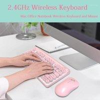 2.4G teclado sem fio jogo de mouse set retro redondo teclado teclado mini mouse para pc laptop teclado computador mice conjuntos1